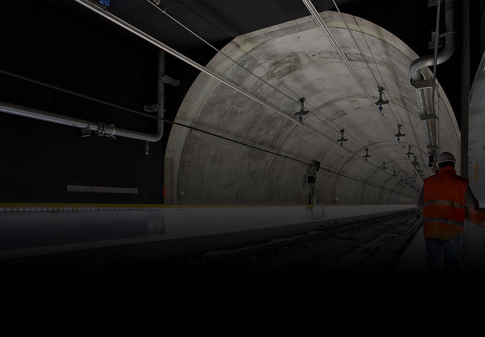 Worker inside new tunnel
