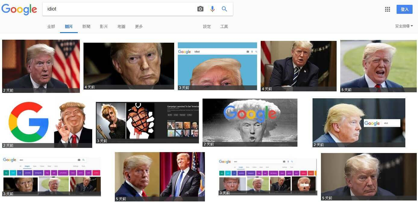 Google 圖片搜尋「Idiot」