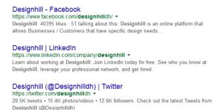 社交媒體身於搜索列表頂部的結果