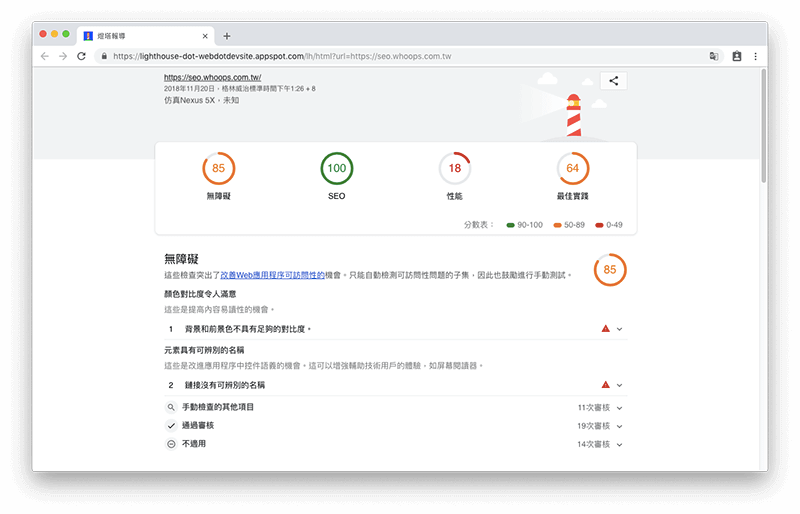 WEB.DEV - Google SEO 工具,分析網站各項數據並教你如何優化網站 1