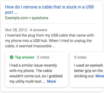 Google Q&A 複合式摘要結果頁面